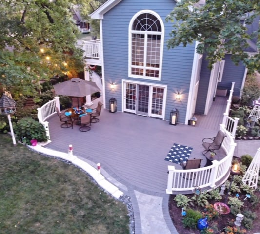 Composite Deck and Stone Patio/Fireplace/Sitting area, stone walkway