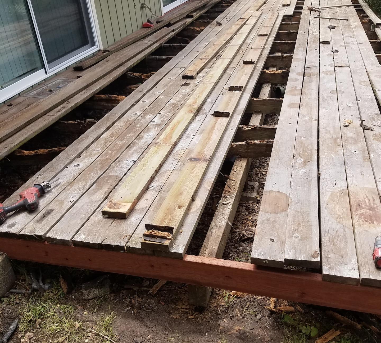Deck ...re framed .revised deck boards.