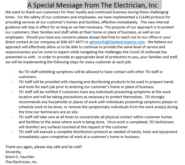 The Electrician Inc