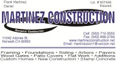 MARTINEZ CONSTRUCTION